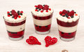 Yogurt dessert with cream, jell, raspberries and blueberries. Royalty Free Stock Photo