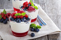 Yogurt dessert with jelly and fresh berries Royalty Free Stock Photo
