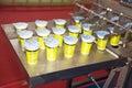 Yogurt filling and sealing machin Royalty Free Stock Photo
