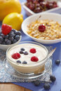 Yogurt with fresh berries Royalty Free Stock Images