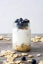 Yogurt with fresh blueberries and cereals Royalty Free Stock Photo