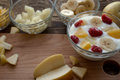 Yogurt with fruits orange bananna pineapple apple Royalty Free Stock Photo