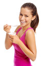 Yogurt girl healthy woman eating yoghurt isolated on white Stock Images