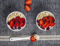 Yogurt with oat flake and fresh berries for healthy morning meal put on white wood background, Royalty Free Stock Photo