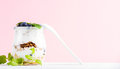 Yogurt oat granola with jam, blueberries and green leaves in glass jar on pastel pink backdrop Royalty Free Stock Photo