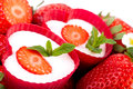 Yogurt strawberries closeup of heart bowls with decorated with Royalty Free Stock Photo
