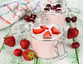 Yogurt with strawberries Royalty Free Stock Photo