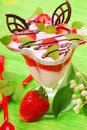 Yogurt with strawberry mousse and melissa Royalty Free Stock Images