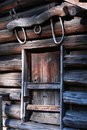 Yoke above window on frontier log building, Royalty Free Stock Image