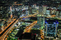Yokohama by night the view from de sky building is wonderful photo taken on april Stock Photos