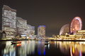 Yokohama skyline night view at minato mirai area Royalty Free Stock Image