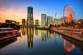 Yokohama skyline at sunset japan minato mirai Royalty Free Stock Photo