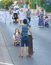 Yom kippur in tel aviv israel oct people walking and riding the streets on day of atonement there is little car travel and Stock Photo