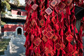 Yong an temple new year wishes written on small red charms in of everlasting peace in beihai park beijing china Royalty Free Stock Photo