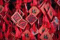 Yong an temple new year wishes written on small red charms in of everlasting peace in beihai park beijing china Royalty Free Stock Image