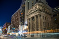 Yonge street historic building at night formerly a four storey bank of toronto built in in toronto ontario canada shot in long Stock Photography