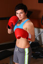 Yonng woman in red boxing gloves Royalty Free Stock Image