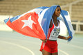 Yorgelis rodriguez cuba celebrating his gold medal heptathlon th world junior athletics championships olympic stadium july Royalty Free Stock Image