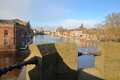 YORK, ENGLAND: View of the river Ouse from the Skeldergate Bridge Royalty Free Stock Photo