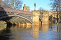 YORK, ENGLAND: View of the Skeldergate bridge on the flooded river Ouse Royalty Free Stock Photo