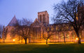 York Minster Cathedral Park At Night Royalty Free Stock Photo