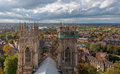 York minster england view from above with the panorama of Royalty Free Stock Photo