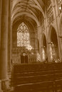 York Minster Nave West Window HDR sepia tone Royalty Free Stock Photo