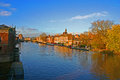 York at sunset and the river ouse view Stock Photography