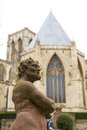 York uk march statue at the treasurer s house s garden with york minster in the background march in york Stock Images