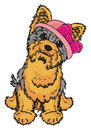 Yorkie girl in pink hat