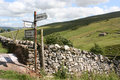 Yorkshire dales sign rusty post pointing to places in the Royalty Free Stock Image