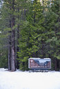 Yosemite entry sign in snow Stock Photo