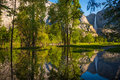 Yosemite Falls Reflection in the Merced River Royalty Free Stock Photo