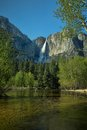 Yosemite falls and reflective water wind blows away from the main stream of from in national park with reflections of the Stock Photos