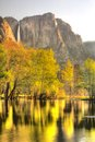 Yosemite falls in springtime national park taken from swing bridge at sunrise the spring Royalty Free Stock Photos