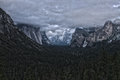 Yosemite National Park Panorama with Dramatic Sky Stock Photo
