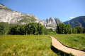 Yosemite national park timber path through the meadow Royalty Free Stock Image
