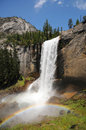 Yosemite national park vernal waterfall with rainbow in Royalty Free Stock Photography