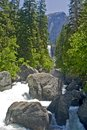 Yosemite river In summer On A Clear Day, Californi Royalty Free Stock Images