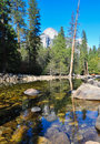 Yosemite river in winter national park Stock Images