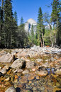 Yosemite river in winter national park Royalty Free Stock Image