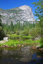 Yosemite s half dome with reflection on the pond Stock Photography