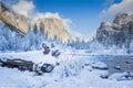 Yosemite Valley Merced River. Serene winter scene Royalty Free Stock Photo