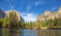 Yosemite valley panorama showing the el capitan the cathedral rocks and the bridalveil falls with the merced river in the Royalty Free Stock Photography