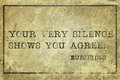 You agree euripides your very silence shows ancient greek philosopher quote printed on grunge vintage cardboard Stock Image