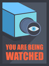 You are being watched flat design style modern vector illustration poster concept of video surveillance by the security service Stock Image