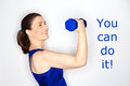 You can do it woman dumbbell Royalty Free Stock Photo