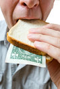 That you can place in a sandwich - your money. Stock Photos
