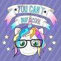 You can`t buy cool, cool unicorn with rainbow colors and lace for t-shirt