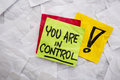 You are in control reminder exclamation a on colorful sticky notes Stock Image